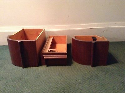 Lot Of 3 Antique Vtg X Large Sewing Machine Cabinet Drawers Curved Unusual