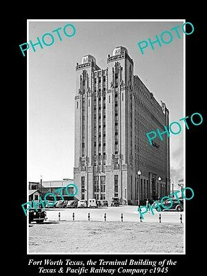 OLD LARGE HISTORIC PHOTO OF FORT WORTH TEXAS, THE T&P RAILWAY Co BUILDING c1945