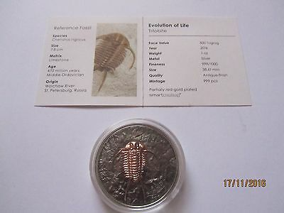 Mongolia 2016, 500 Togrog, Evolution of Life, Trilobite, 1 Oz Silber