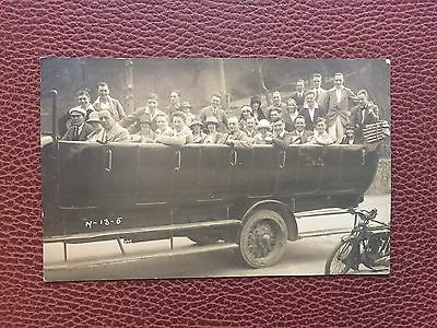 Jersey 1925 Real Photograph Postcard Open Taxi,Bus & Motorcycle