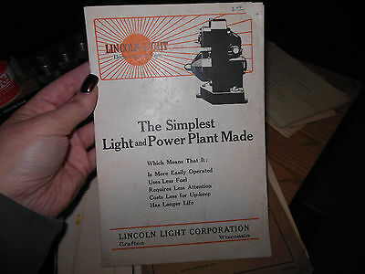 The Simplest Light and Power Plant Made Lincoln Light Corporation Brochure