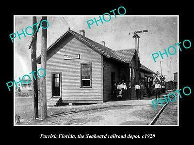 OLD LARGE HISTORIC PHOTO OF PARRISH FLORIDA, THE RAILROAD DEPOT STATION c1920