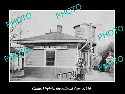 OLD LARGE HISTORIC PHOTO OF CHULA VIRGINIA, THE RAILROAD DEPOT STATION c1910