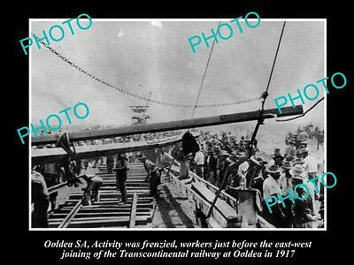 OLD LARGE HISTORIC PHOTO OF OOLDEA SOUTH AUSTRALIA, JOINING OF THE RAILWAY c1917