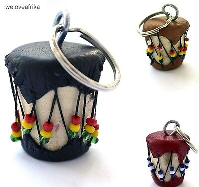 African Masai Fairtrade Drum Keyrings, Keyholder Ethnic Christmas Unique Gifts