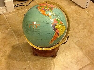 Vintage Replogle 12 Inch Reference Globe with Double Axis Stand