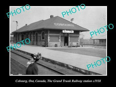 OLD LARGE HISTORIC PHOTO OF COBOURG, GRAND TRUNK RAILWAY STATION c1918, CANADA