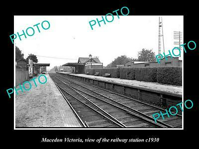 Old Large Historic Photo Of Macedon Victoria, The Railway Station 1930