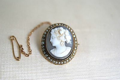 Fine Antique Victorian 15 Ct Y Gold Oval Cameo & Seed Pearl Brooch 1.1 Cm X3/4Cm