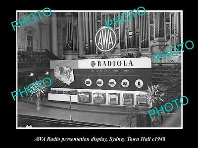 Old Large Historic Photo Of The Awa Radio Sydney Town Halll Show Stand, 1948