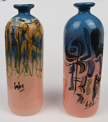 A Pair of Colourful Abstract Art Hand painted Cuban Ceramic Vases