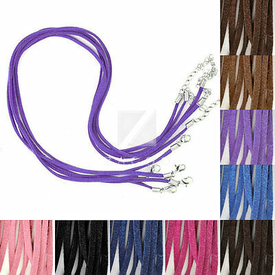 10pcs Korean Suede Ribbon Necklace Cord Clasps Chain Jewelry Finding 1.7x2.6mm
