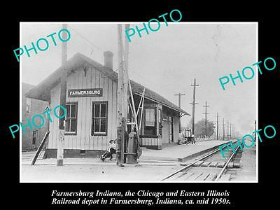 Old Large Historic Photo Of Farmersburg Indiana, The Railroad Depot Station 1950