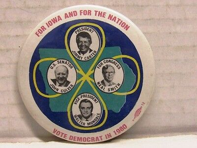 1980 Carter Mondale Iowa Double Coat Tail Jugate  Presidential Campaign Pin 3""