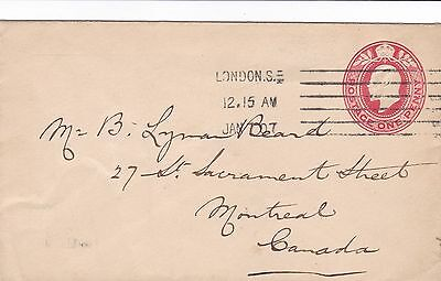 GB 1907 Edward VII 1d Postal Stationery Envelope London to Montreal Canada