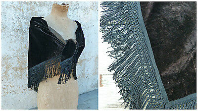Antique Victorian French capelet scarf shawl black velvet and fringes