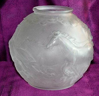Rare Art Deco 1930s Czech Barolac GALLOPING HORSES VASE Frosted Satin Glass