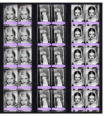 Bette Davis Hollywood Icon Set Of 3 Mint Stamp Strips 2