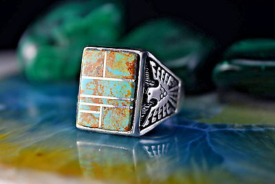 Sterling silver Square Navajo made ring w/ 7 pcs of Royston Turquoise Size-12.5