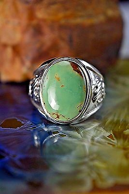 Sterling silver Navajo made Bear paw ring w/ a Royston Turquoise stone S-11