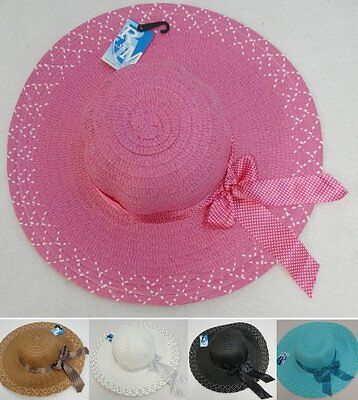 Bulk 90pc Colored Ladies Womens Woven Summer Hat w/ Polka Dot Bow