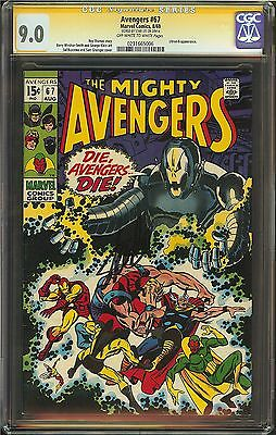 Avengers #67 CGC 9.0 Signed Stan Lee app Ultron-6 Age of Movie Thor Ironman