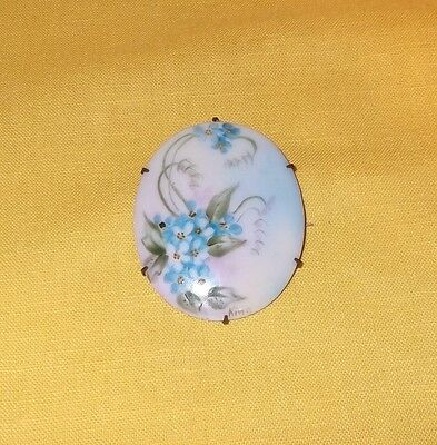 Large Antique Victorian Hand Painted Porcelain Pin Brooch