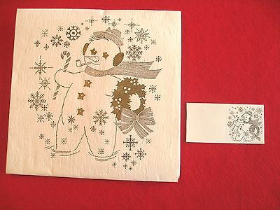 Big Snowman Wrapping Paper Matching Card NOS 1940s Gold & White Embossed Glitter