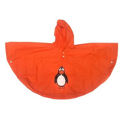 Children's Poncho Rain Coat Hooded Waterproof Unisex Penguin Age 4 - 6 Years.