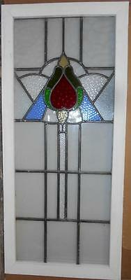 """LARGE OLD ENGLISH LEADED STAINED GLASS WINDOW Stunning Floral 17.5"""" x 42"""""""