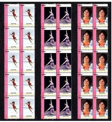 Dorothy Hamill Ice Skating Icon Set Of 3 Mint Stamps 1