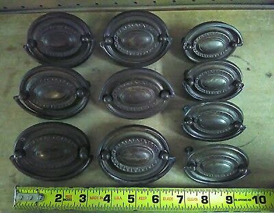 "Lot of 10 Brass Dresser Drawer Pulls  ( Old, Vintage or Antique )6- 3"" + 4- 2.5"""