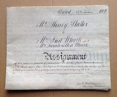INDENTURE, Original Legal Document - ASSIGNMENT OF LAND 1906 (with seals)