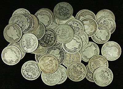 A Full Roll of Fifty ( 50 ) Mixed Date. Barber Silver Dimes. AG & Better