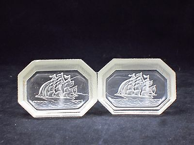 Vintage Intaglio Open Salts Dish Frosted Glass Sail Ship / Galleons Oblong (2)