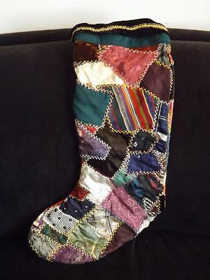 Victorian quilt Embroidered Christmas Stocking 23""