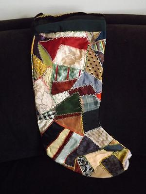 """Victorian Quilt Embroidered Christmas Stocking 23"""""""