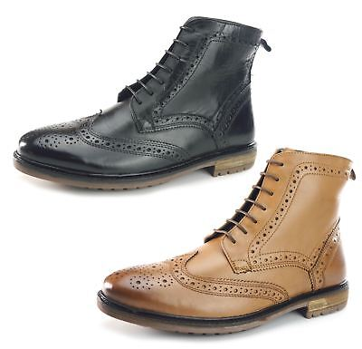 5a64c0c9a45e9f Silver Street Gerrard Quality Cleated Real Leather Lace Up Brogue Mens Boots