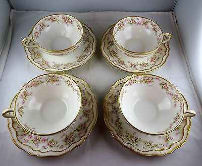 Four Theodore Haviland Limoges China Schleiger 844 Cup + Saucer Sets