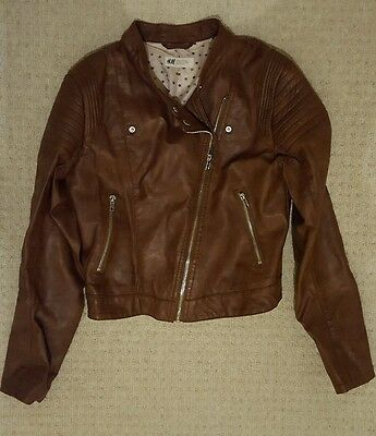 Faux leather jacket in tan by H&M 13-14yrs
