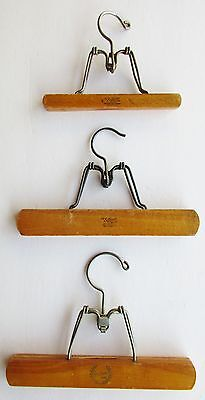 """3 Vintage SETWELL WALKER Wooden Clothes Pant Skirt Clamp Hangers 10"""" & 8"""" USA"""