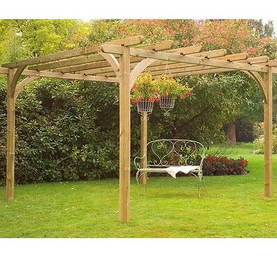 10ft 10ft WOODEN PERGOLA PRESSURE TREATED TIMBER GARDEN ARBOUR WOOD NEW