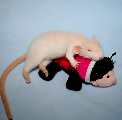 OOAK Needle Felted realistic sculpture rat mouse Christmas handmade gift