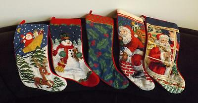 """MWOT 5 Needlepoint Wool Embroidered Christmas Stockings 21"""""""
