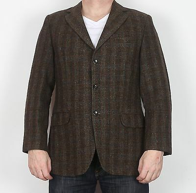 """Harris Tweed Chest 38"""" Small Tailored Jacket Blazer Brown 70's 80's (I6A)"""