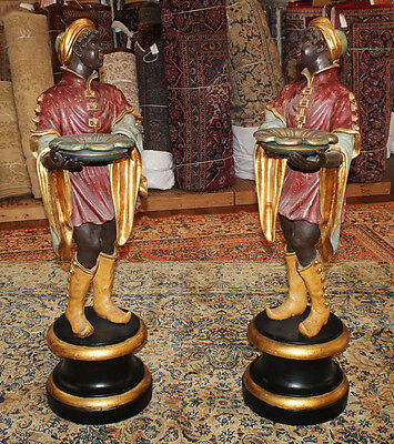Rare Pair Polychrome Italian Carved WOOD Blackamoor Nubian Stands Figures Statue