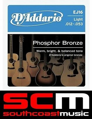 2 x D'ADDARIO EJ16 STRING SET DADDARIO PHOSPHOR ACOUSTIC GUITAR STRINGS 12 - 53