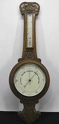 Antique 19th C Carved Wood Weather Station Wall Barometer & Thermometer NR yqz