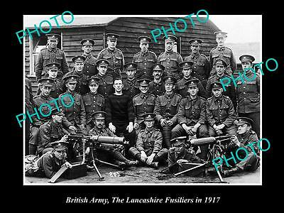 OLD LARGE HISTORICAL PHOTO OF BRITISH ARMY, THE LANCASHIRE FUSILIERS WWI c1917