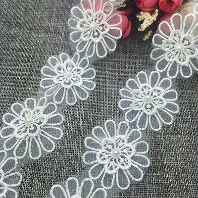 New 1 Yards 2-layer 50mm Embroidered Flower Applique Pearl Core Lace Trim #SUK19